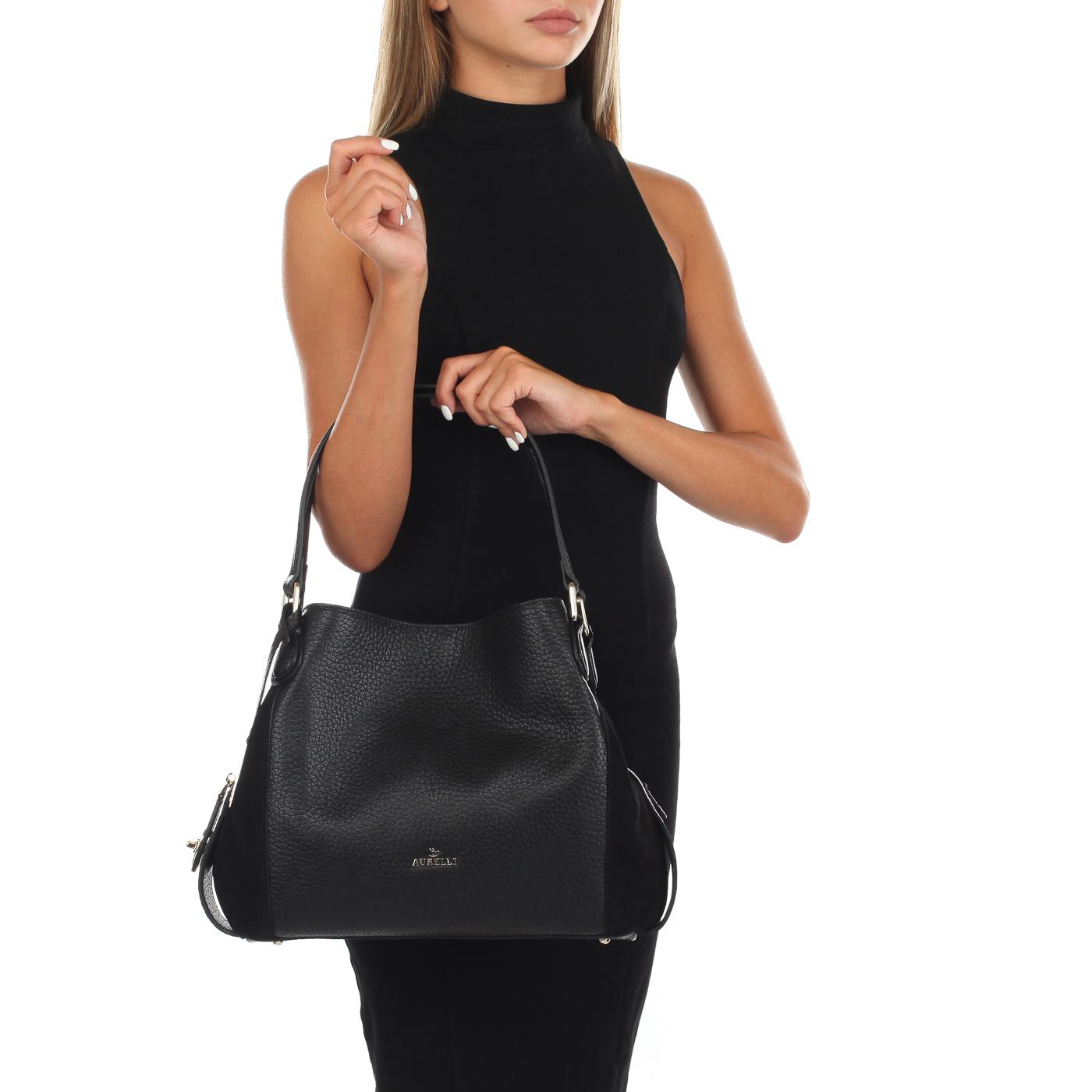 778a5040bbe7 Черная сумка из кожи Aurelli 18W0085-80G-nero - 2000557928442 черный ...